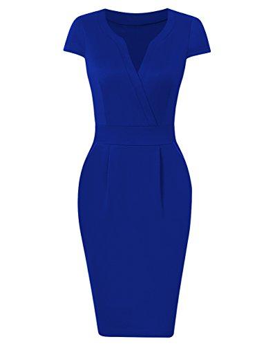 KOJOOIN Damen Elegant Etuikleider Knielang Kurzarm Business Kleider Empire Blau L