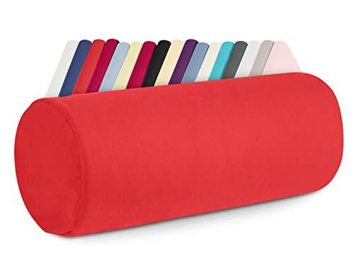 npluseins Kissenhülle für Nackenrollen - 100% Mako-Baumwolle - ca. 40 x 15 cm 988.1273, rot