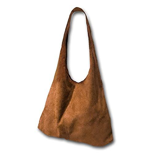 O´LANG - Bolso Shopper de Mujer Grande para colgar del Hombro, de Gran Capacidad Totalizador, realizado en Piel vuelta, Multifuncional. Consta de monedero interior,- Camel Beige