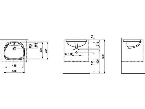 Laufen Einbauwaschtisch von unten Bilou 1 Hahnloch ohne Ü U-Seite glasiert 485x400 weiß, Farbe: Weiß