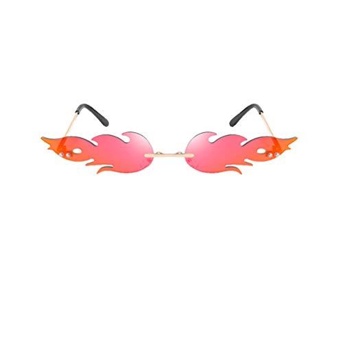 NUOBESTY Feuer Flamme Brille 1Pc 16 X 14 X 2. 7 Cm Flamme Randlose Sonnenbrille Frauen Männer Sonnenbrille Party Brille Klare Metall Sonnenbrille Rahmenlose Farben - Rot