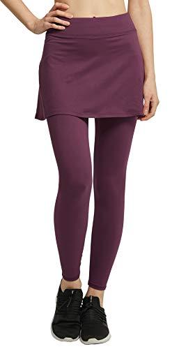 Westkun Damen Leggings mit Rock Knöchelläng Laufhose Tennisrock mit Taschen Yoga Sport Soft Rockhose Tennisbekleidung 2-in-1(Burgund,L)