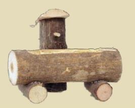 Unbekannt Miniaturfiguren Zubehör, Baumstammbrunnen, Länge ca. 10cm, Höhe ca. 8,5cm aus Holz