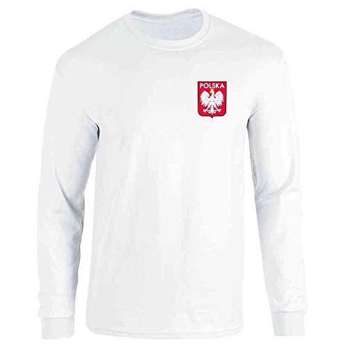 Poland Soccer Retro National Team Sport Football White L Full Long Sleeve Tee T-Shirt