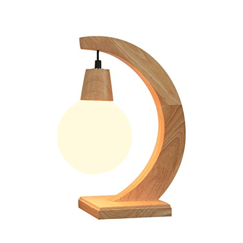 SYAODU bureaulamp van massief hout, natuurlijke houten lijnen, lampenkap van glas, bedlampje E27, woonkamer, slaapkamer, hotel, decoratie, verlichting