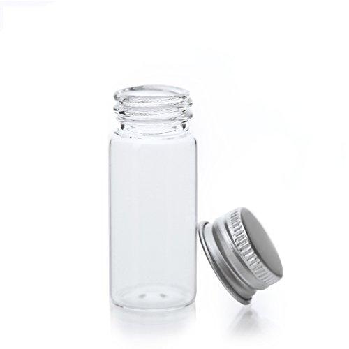 HugeStore - Barattoli vuoti in plastica trasparente da 10 ml per cosmetici, oli essenziali, grassi, piccoli contenitori per alimenti con coperchio in alluminio, plastica, 20 Pezzi
