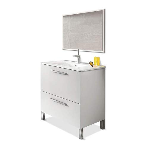 Artikmobel 305412BO - Mueble de Baño Urban, Módulo de Lavabo con Espejo, Color Blanco Brillo, 80 X 80 X 45 cm de Fondo