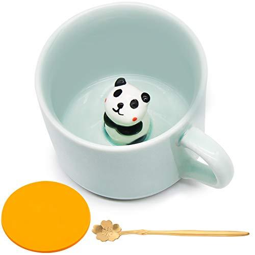 Keramik Kaffeetasse Lustige Teetassen Handgemachter Netter 3D Panda Tasse Für Freunde Mitbewohner Familie oder Kinder 3D Niedliche Tierkaffeetasse Als Überraschungsgeschenk Geburtstagsgeschenk 8.5 Oz