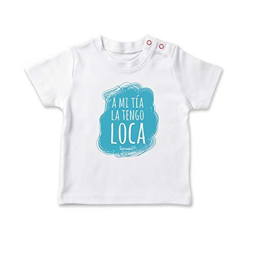 SUPERMOLON Camiseta bebé A mi tía la tengo loca Blanco 1-2 años