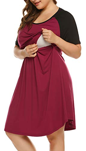 Product Image of the IN'VOLAND Women's Plus Size Maternity Nightgown Short Sleeve Sleepwear Maternity...