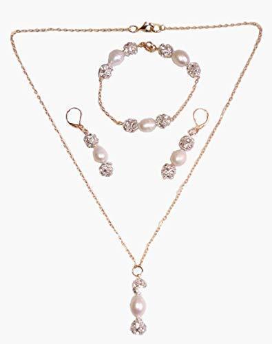 Collar Aretes y Pulsera Chapa de Oro Perlas Cultivadas con Tornasol