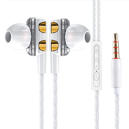 Auleset Universal Dual Moving Coil In-Ear Wired HiFi Music Auriculares con micrófono - Blanco Dorado