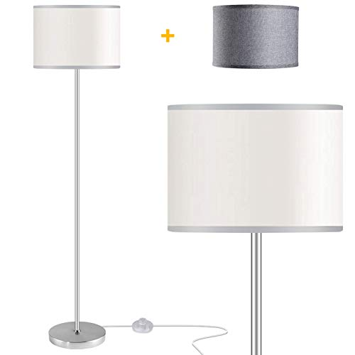 Floor Lamps for Living Room with 2 Lamp Shades, LED Modern Standing Lamp Simple Design, Tall Reading Pole Lamp Standing Light, Silver Floor Lamps for Bedroom, Office, Study Room by PARTPHONER
