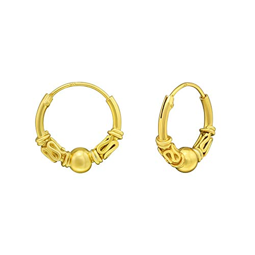 Gold Plated Bali Style Sterling Silver Sleeper Hoop Earrings with Ball & Scrolls by Kate Benson, Size: 12mm