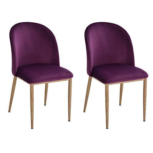 homcom Set 2 Sedie per Sala da Pranzo/Cucina/Soggiorno con Seduta Imbottita e Rivestimento in Velluto Viola, 50 x 58 x 85cm
