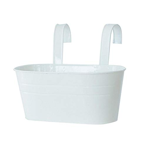 Hanging Flower Pots Garden Hanging Planter Metal Iron Bucket for Railing Fence Balcony Garden Home Decoration, Flower Holders with Detachable Double Hooks, White
