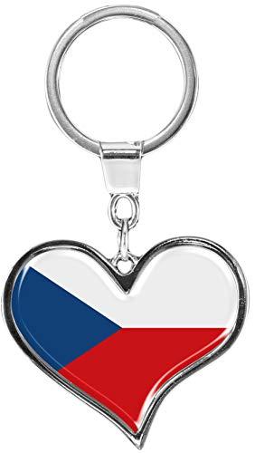 metALUm   Schlüsselanhänger Herz Metall Flagge Tschechien 6611050