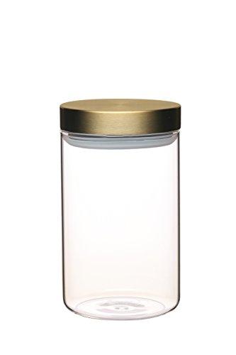 Master Class–Tapa de cristal tarro de almacenamiento de alimentos con tapa de latón, vidrio, Transparente, Medium (1 L)