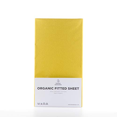 Mama Designs Organic Cotton Fitted Sheet (Mustard, Cot 120x60cm)