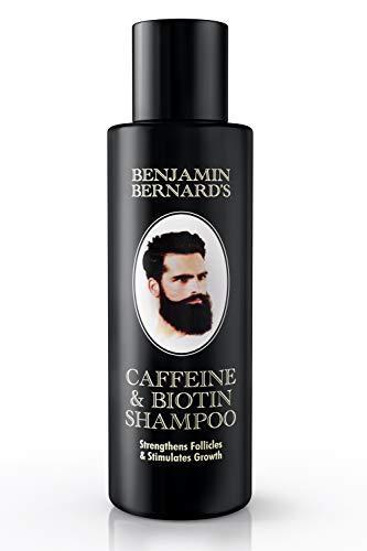 Haargroei-shampoo, Biotine shampoo, Cafeïneshampoo voor mannen door Benjamin Bernard – Versterkt de haarzakjes, stimuleert haargroei en vermindert haaruitval, zonder parabenen en sulfaat - 150 ml