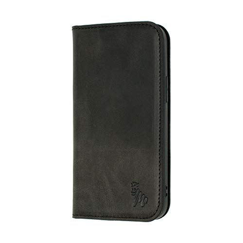 Quagga Funda de piel tipo cartera para iPhone 12 Mini - Ranura para tarjeta y cierre magnético | Negro, Marrón, Azul, Verde (Negro)