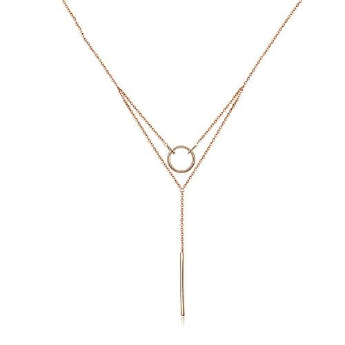 VAWAA Gargantilla geométrica de Doble Capa, Collares para Mujer, auténtica Plata de Ley 925, Color Oro Rosa, joyería de Moda