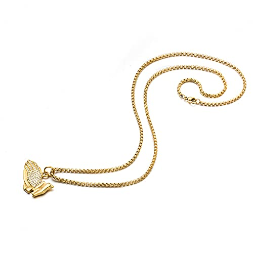 N/A Collar Collar De Manos Rezando Americana Pareja Colgante De La Suerte Wild Hip Hop Accesorios De Acero De Titanio Regalo del Día De San Valentín Regalo del Día De La Madre