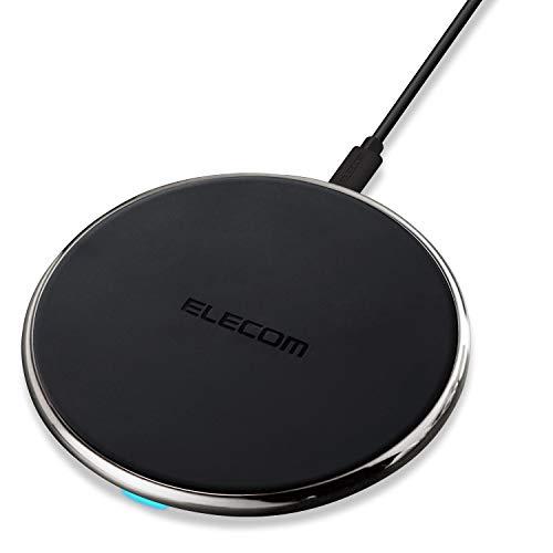 エレコム ワイヤレス充電器 Qi対応 Type-C給電 薄型 [最大出力10W (Galaxy 10W / iPhone 他 5W) ] 卓上 ブラック W-QA14BK
