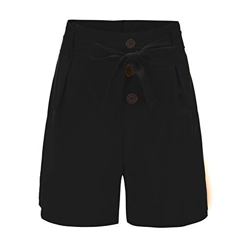 Pantalones Cortos de Yoga Palagos Cortos para Mujeres Pantalones Cortos de Mujer Slim Fashion Cinturón Alto Cinturón Pantalones Cortos de Playa (Color : Black, Size : S)