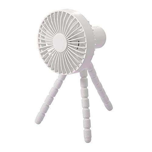 YUACY Pequeño aire acondicionado Ventilador trípode Ventilador multi-escena Usb Cochecito de noche Mini ventilador portátil (blanco)