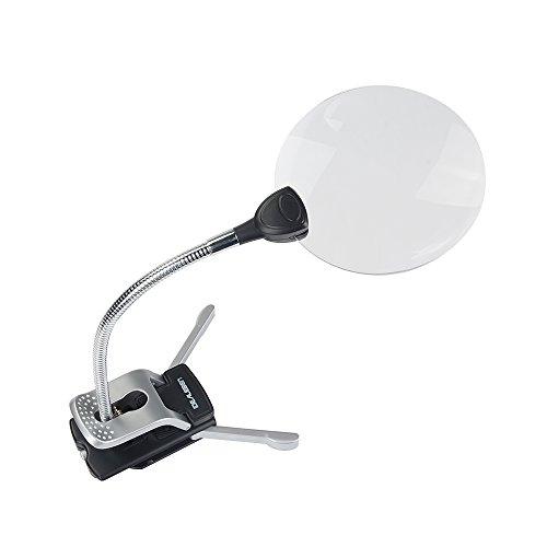 IDEALEBEN 2x Fach Tischlupe Arbeitslupe mit 2 LED Lichters und 8x Fach Vergrößerungslinse,...