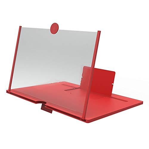 WUYUESUN Pantalla del teléfono móvil del Amplificador Proyector portátil Recorrido Que acampa de Escritorio 3D de vídeo de la película Lupa de teléfono Soporte de Apoyo (Color : Red, Size : 10 in)