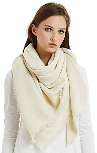 VIVIAN & VINCENT Soft Classic Luxurious Blanket Solid Color Square Scarf Wrap Beige
