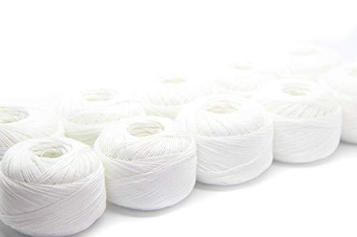 NTS Nähtechnik Häkelgarn aus 100% Baumwolle Baumwollgarn Baumwollfaden zum Sticken, Häkeln, Schmuck, Basteln (weiß, 10)