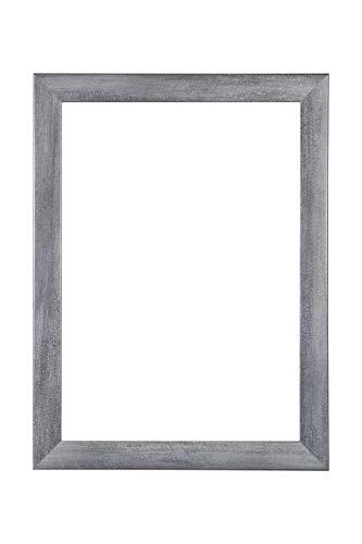 EUROLine35 mm Bilderrahmen für 60 x 50 cm Bilder, Farbe: Grau Gewischt, inkl. entspiegeltem Acrylglas und MDF Rückwand, Rahmen Breite: 35 mm, Außenmaß: 65,8 x 55,8 cm