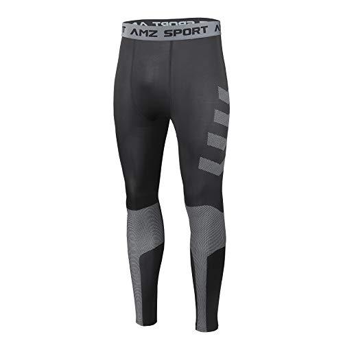 AMZSPORT Legging de Compression pour Hommes Pantalons de Sport Cool et Secs, Nouveau Génération Noir XL