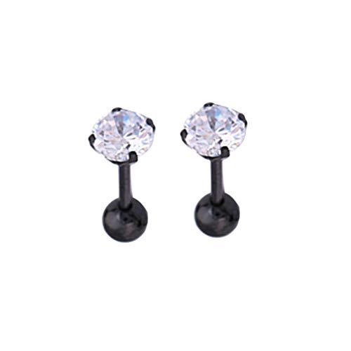 rongweiwang Women Men Zircon Earring Ear steel earring Pin Shining Steel Stud Earring Ear Jewelry for Dating Party, Silver, 4mm