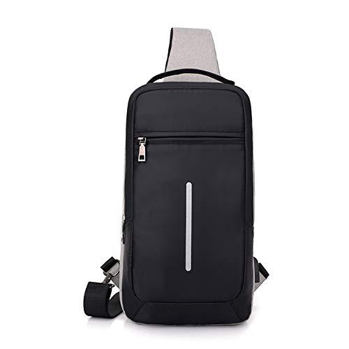 Zaino di ricarica USB anti-furto casual da uomo GIRLAA zaino da ricarica USB grande capacità monospalla grigio chiaro-0805 36x19x9cm