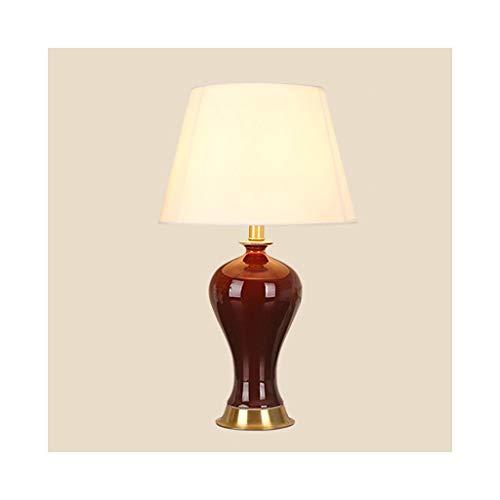 WFL-lámpara de escritorio Americana moderna lámpara de mesa minimalista completa de cobre de tela de cerámica del dormitorio Lang florero rojo mesa de estudio de la lámpara lámpara de cabecera de la s