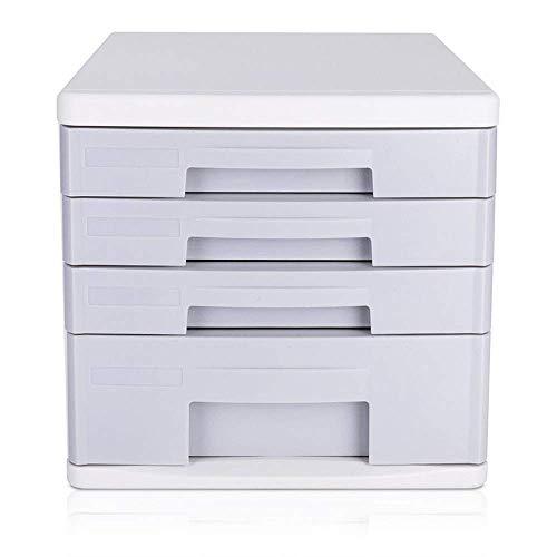 Z-LIANG Gabinetes de escritorio La presentación del gabinete del cajón de escritorio archivador de 4 capas de escritorio de oficina Gabinete de almacenamiento (Color: Gris, Tamaño: 26.5x34.4x24.9cm) O
