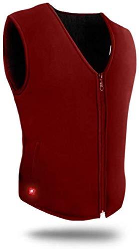 CHNDR Elektrische vest voor dames, kan worden gewassen, warm vest met USB-kabel (zwart/rood), zwart-L