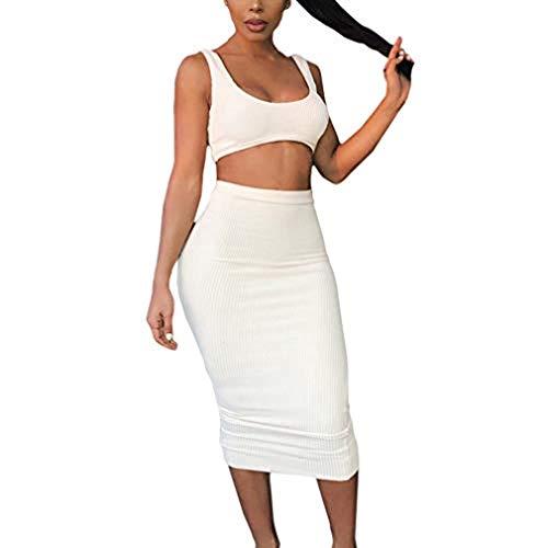 Dos Piezas Mujer Conjunto de Top y Falda Mujeres Bodycon Trajes Camisetas Sin Mangas Sexy Crop Tops Faldas Elásticas Bodycon Casual Faldas Largas Sexy Conjunto de Traje Mujer Outfits
