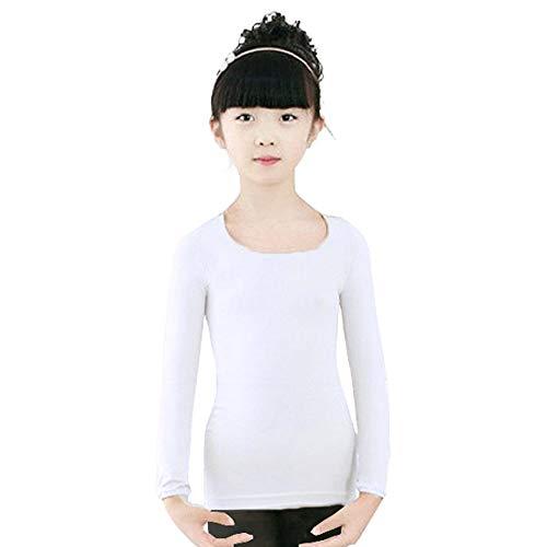 BOZEVON Maglia Termica Bambina - Primo Strato Manica Lunga Abbigliamento Termico per Bambini Balletto Danza Ginnastica,Bianco (Top)/x-Large