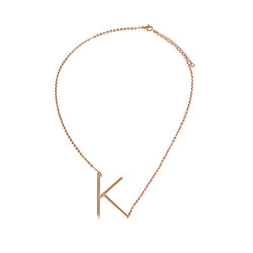 AKKi jewelry Buchstaben Halskette für Damen Kette,aus Edelstahl ABC Anhänger Halsschmuck Name Alphabet Silber Rosegold schräg K