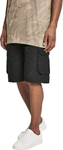 Southpole Herren Belted Ripstop Cargo Shorts, Black, 32