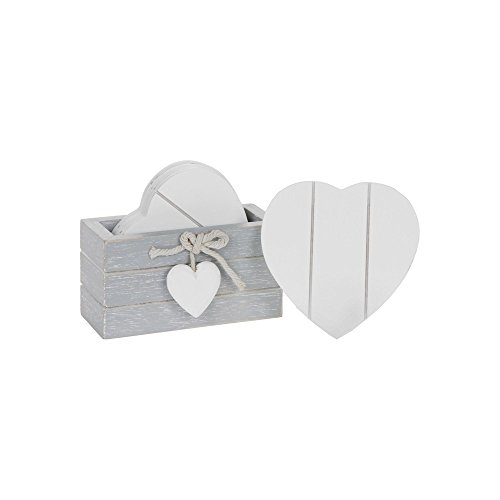 Joe Davies Set of 6 Wooden Heart Drink Coasters With Provence Grey Storage Stand