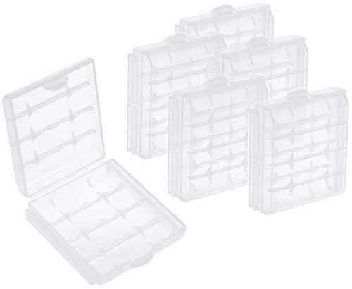 com-four® 6X Batteriebox aus Kunststoff - Aufbewahrungsbox für Batterien und Akkus - Akkubox für AA und AAA (06 Stück - Transparent)