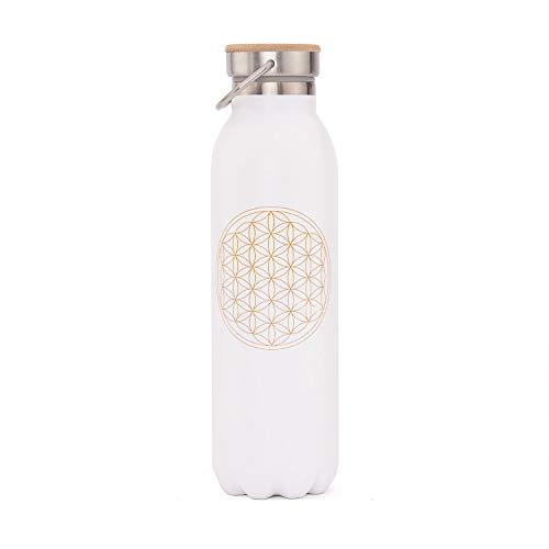 Edle Isolier-Trinkflasche aus Edelstahl, Kratzfest, auslaufsicher, 600 ml, mit Blume des Lebens Bedruckt, perfekt z. B. für Hot Yoga und Yoga Festivals