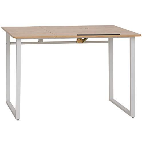 HOMCOM Modern Drafting Drawing Table with Adjustable Tiltable Tabletop, Writing Office Desk Artist Workstation, Oak