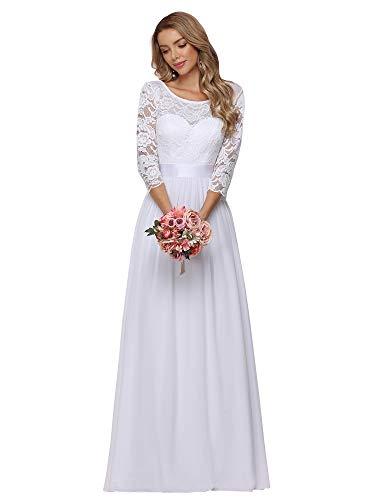 Ever-Pretty Vestiti da Cerimonia Donna 3/4 Manich Stile Impero Maxi Linea ad A Pizzo Chiffon Abiti da Sposa Bianca 36